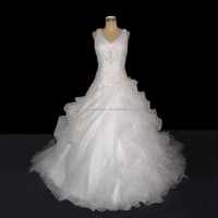 Real Sample Fat Woman Super Size White Organza Wedding Dress Bridal Gown