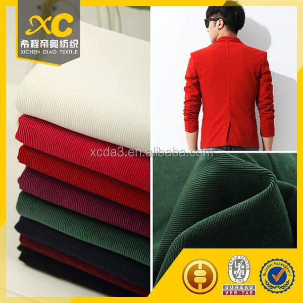 kain cotton spandex green corduroy fabric for men clothing
