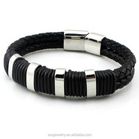Simple Mens Jewelry Wholesale Genuine Leather Braided Cuff handmade silver bracelet