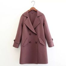 New design Women's Wool Jacket Ladies Winter Double Breasted Fitted Flary Lapel Coat With pockets