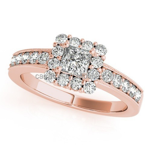2015 hot sale jewelry sterling silver halo rose gold engagement rings