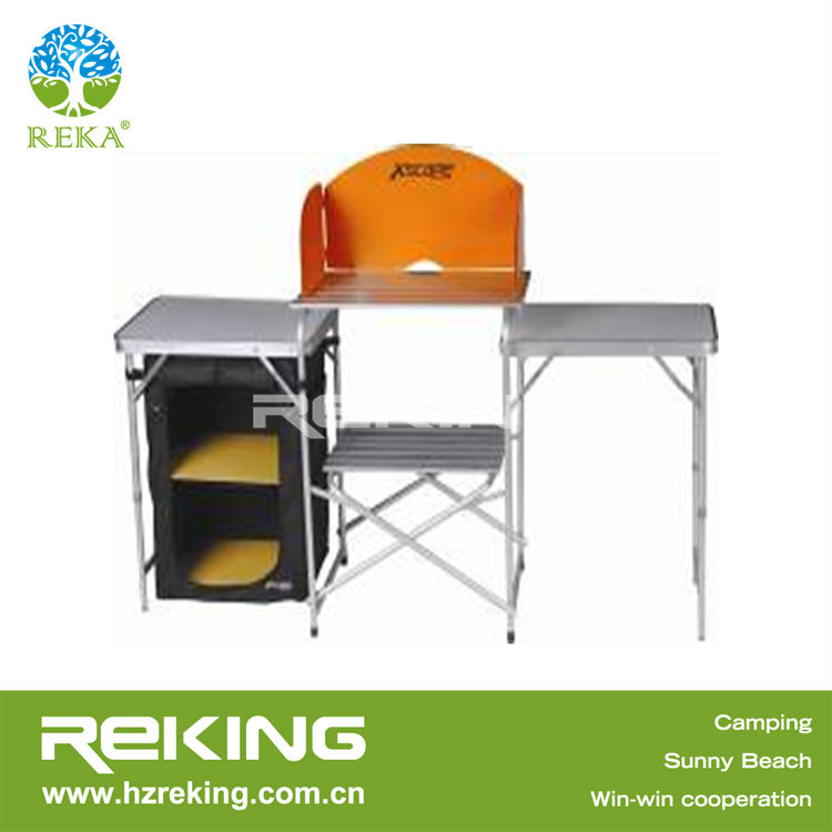Folding Camping Cupboard With Aluminium Table