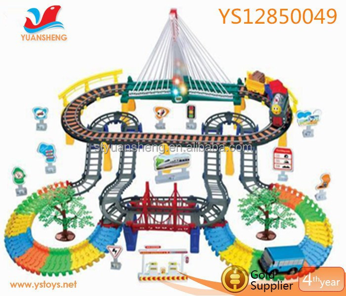 Hot selling Electric railway toy rail train and one bus with sound and lighting function B/O train toy