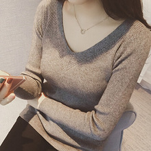 New arrival autumn winter bottoming women sweater korean style qualities v-neck ladies sweater