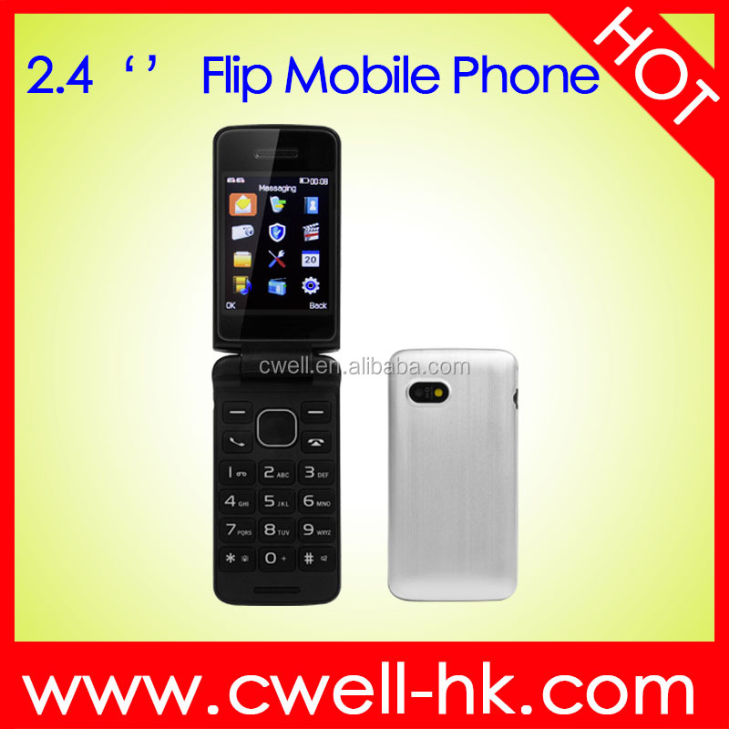 i5 2.4 Inch Unlocked TFT Screen Big Button Dual SIM card Low Price Flip Mobile Phone