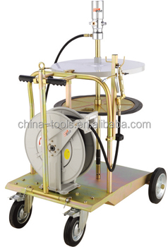 Grease pump and hose reel combination trolly