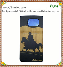 Bamboo Wood Blank Phone Case For samsung s6 custom for iPhone 6s Black Bamboo Wood Case