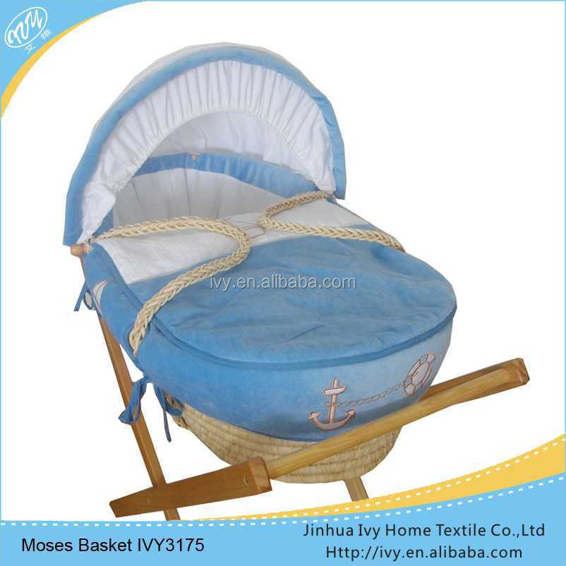 High quanlity wicker baby basket set portable bassinet