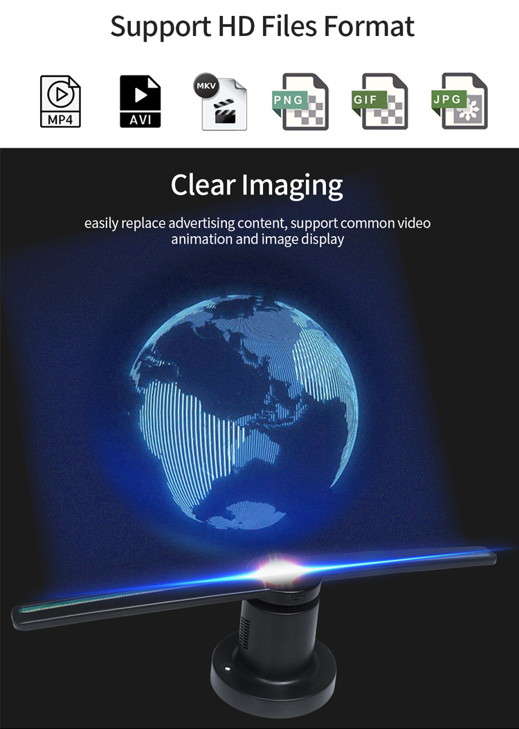 43 65 100 cm Four blades 24 inch 1080P nake eyes popular hologram display led 3D advertising projector fan
