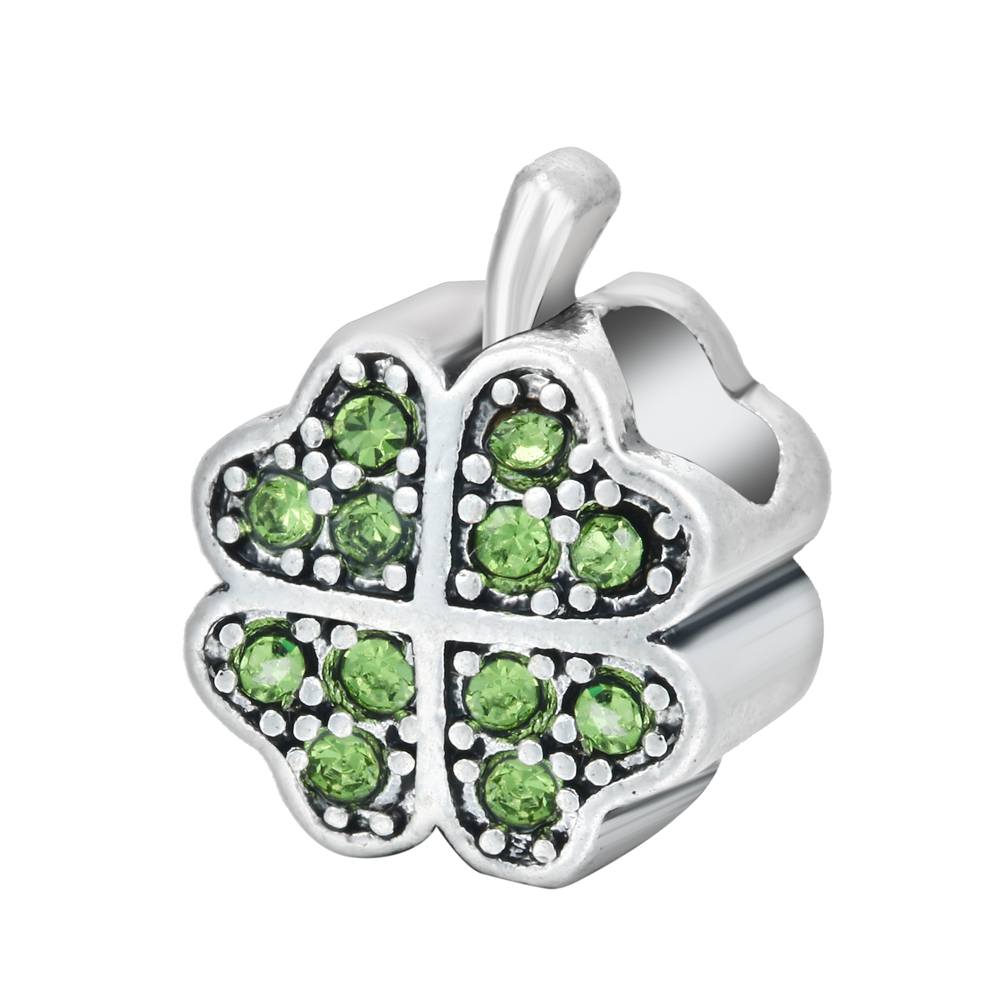 Original 925 Sterling Silver Charms Cute Crystal Lucky Clover Pave Beads For Jewelry Making Fits Engraved Charms Bracelets Women