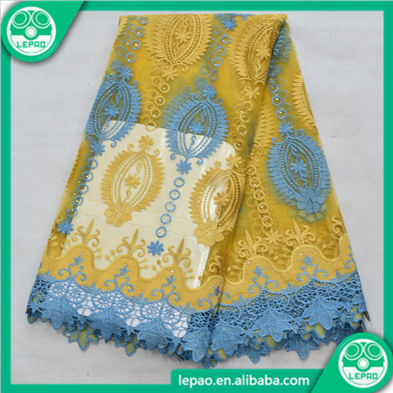 Gold and blue laces of 8313, African tulle laces, Lepao latest hot design fabrics