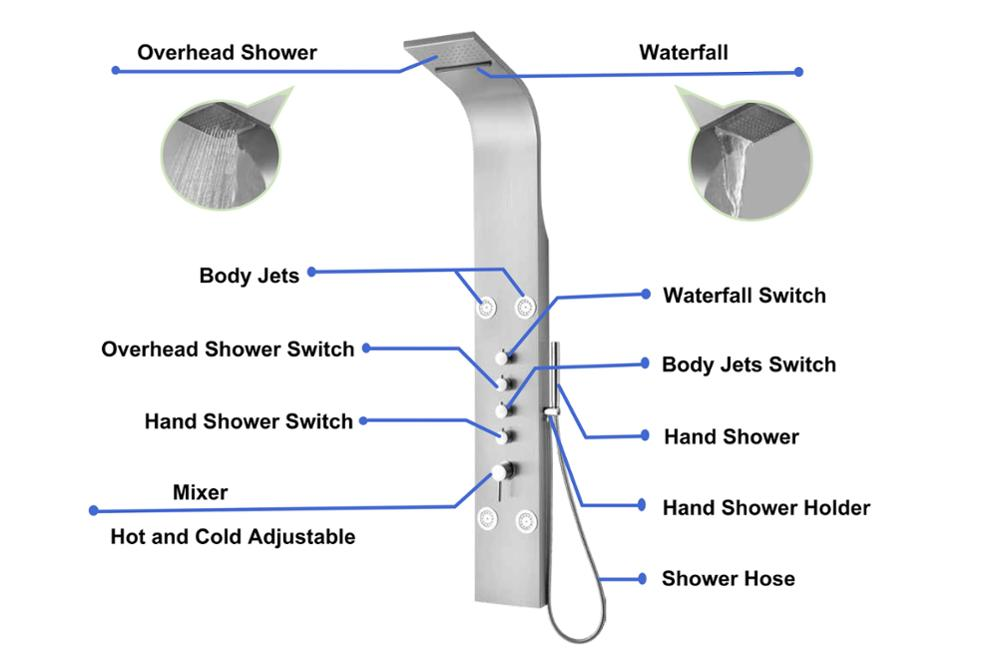 Tempered Glass Outdoor Shower Column
