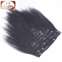 Indian hair unprocessed virgin kinky straight hair clip in hair extensions for african american