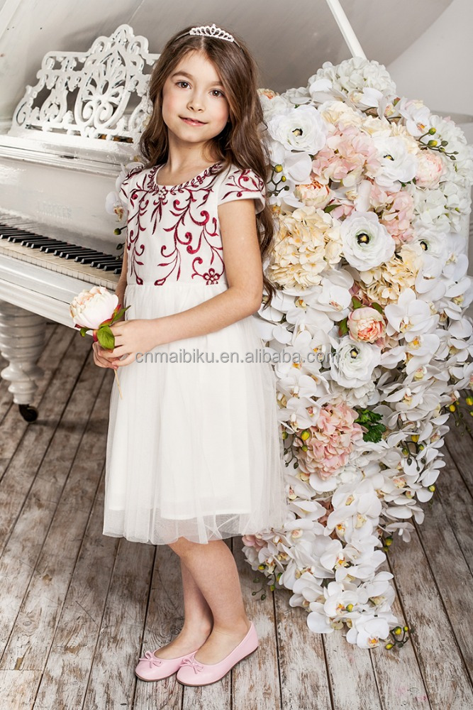 children girl fashion Knee-Length white lace dress