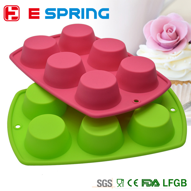 Hot Sale Cake Tools Fondant Kitchen Bakeware Silicone Non-Stick 6 Cups Cupcake Baking Tray Mousse Cake Mold Muffin Pan