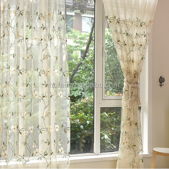 elegant leaf pattern window curtain tulle ready made sheer curtain