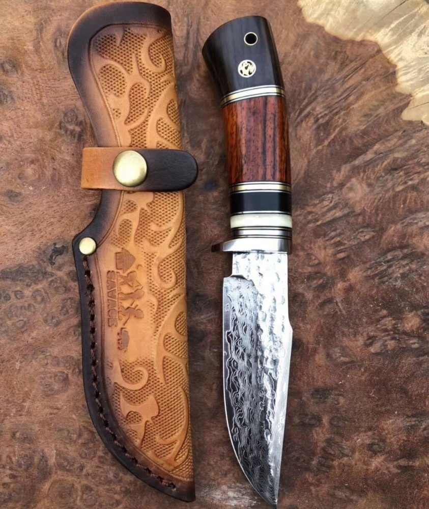 High Quality OEM Survival 67 Layers Damascus VG10 Steel Hunting <strong>Knife</strong> With Bovine Bone Ebony Wood Rosewood