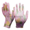 NMSAFETYEN388 13 gauge pink nylon liner coated flower print PU garden gloves