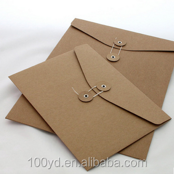 Kraft paper envelope with button and string closure