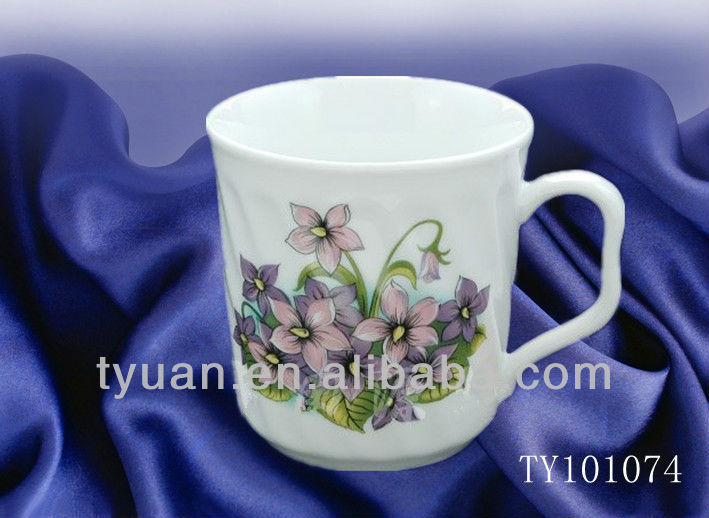 orchid decal ceramic coffee cups
