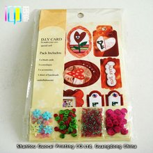 Custom perrty style diy paper handmade greeting card kit with decoration sequins