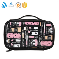 Cute black travel outdoor tote cosmetic toiletry bag