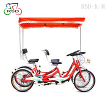 Red color with 4 wheels exported to Dubai/Big backrest surrey bike/Family happy riding cart