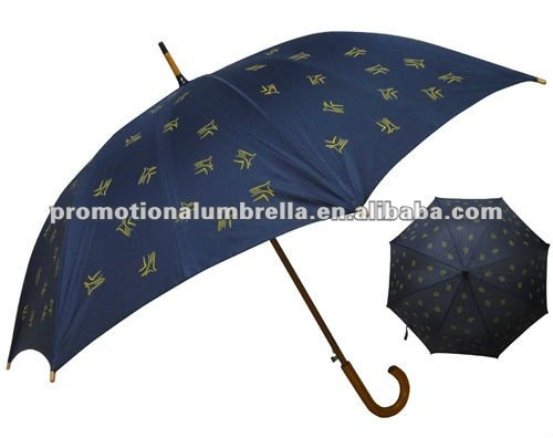 "Blue pongee 23"" auto wooden stick screen printing sun and rain umbrella"