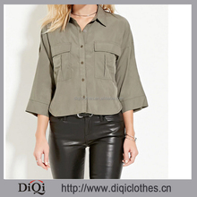 lady camouflage clothing fashion round Hem Pocket blouse