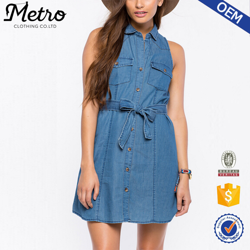 OEM Logo 100% Cotton Lady Chambray Fabric Shirtdress Sleeveless Denim Shirt Dress Slit Maxi Dress