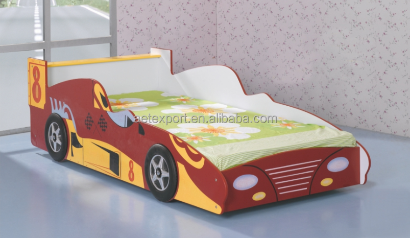 2016 New design children bedroom furniture wooden board race car bed F1-1#