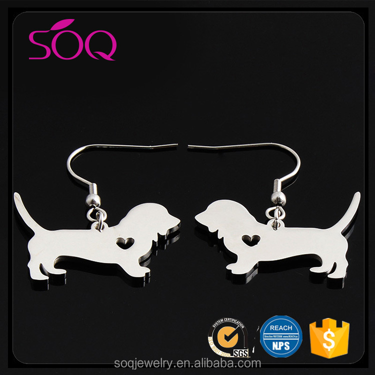 Alibaba wholesale jewelry hot sale simple design cute dog shape hanging brazil retro earrings