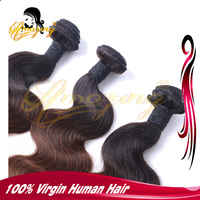 Cheap price Virgin Romance Curl Hair Ombre Three Tone Color Brazilian Human Hair Weave