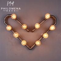 2017 New design heart shape decorative vintage industrial style wall lights