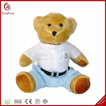Tuv Factory Oem Plush Toys Removable And Washable Stuffed Brown Bear Plush Sitting Dress Teddy Bear