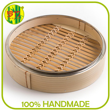 Stainless Steel Rim Square Bamboo Food Steamer Dim Sum Box