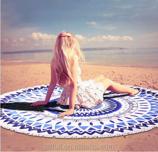 Alibaba stock price 100% soft cotton printed mandala roundie beach towel