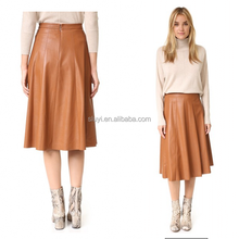 N620 Custom made service from Sluyi garment factory womens leather skirt suits with good quality fashion a line leather skirt