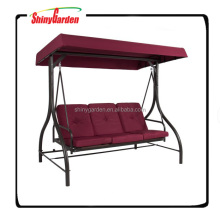 3 Seats Burgundy Patio Swing Hammock With Canopy