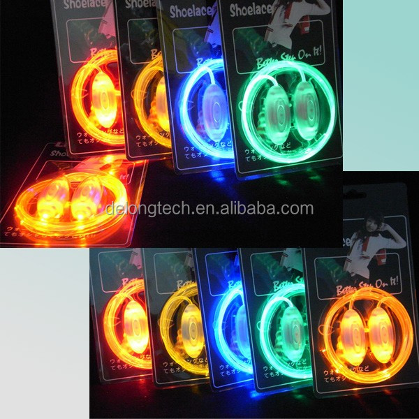 Cool led shoe lace/light up led shoe lace for kids and adults from China supplier Delong