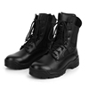 Black full grain leather military tactical boots