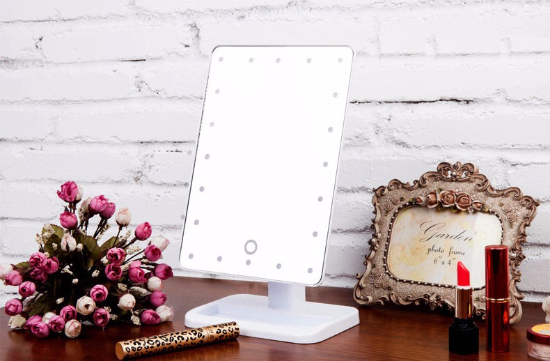 360 degree rotating led mirror for makeup Vanity mirror with square stand