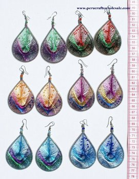 Peruvian Silk Thread Earrings, Ethnic Handmade Woven Hoop Dangle (Drop, Dangling) Jewelry Wholesale Peru Handwoven Art Design