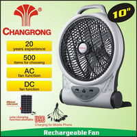 Zhejiang Ningbo Supplier 10 inch rechargeable fan light with usb cahrge and solar panel function