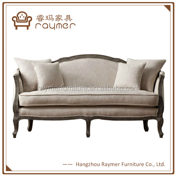 Latest design french country curved back gray linen antique wooden sofa