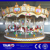 Express Alibaba Attraction Luxury Colorful Park and Rides Kitchen Carousel Set Horse for Sale