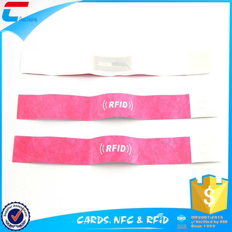 paper wristband UHF Disposable RFID Tag Wristband for Access Control