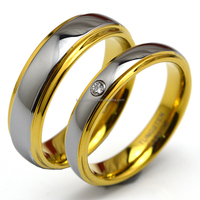 4-8mm High Quality 18K Gold Plated Tungsten Wedding Rings for Men/Women
