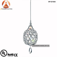 1 Light Twist Mini Pendant Lamp In Silver Plated With Clear Crystal