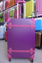 Vintage style charming purple abs hard shell luggage bags luggage